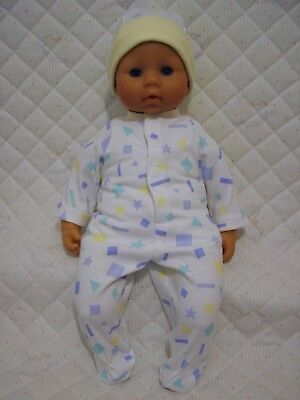DOLLS CLOTHES to fit 46cm BABY ANNABELL BOY - BLUE & LEMON BABYGRO & HAT SET