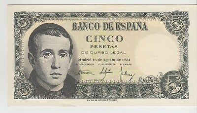 Spain 5 Pesetas Banco De Espana 1951 Issue Pick: 140a in UNC
