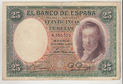 Spain 25 Pesetas El Banco De Espana 1931 Issue Pick: 81 in XF