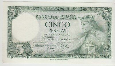 Spain 5 Pesetas Banco De Espana 1954 Issue Pick: 146a in UNC