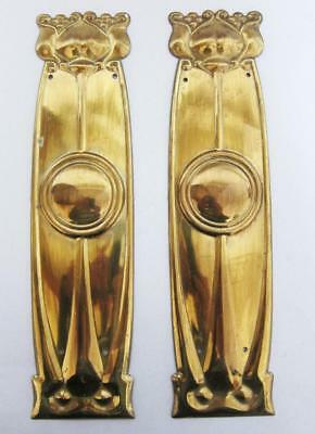 BEST VINTAGE ART NOUVEAU BRASS DOOR FINGER PLATES 1890 Rennie Macintosh vintage