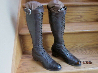 Martha Washington Antique knee length brown Leather Ladies' Boots lace up