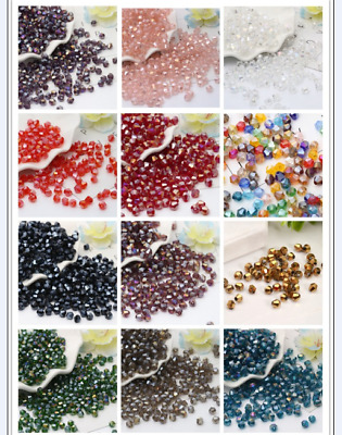 Wholesale 100/200/500/1000 Pcs 4mm AB Crystal Bicone Beads Glass Beads 36 Color