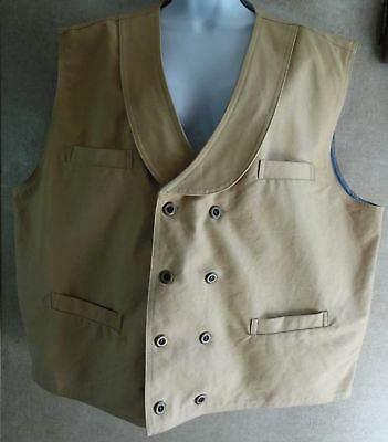 NWOT Frontier Classics Beige Double Breasted & Lined Vest - 2XL