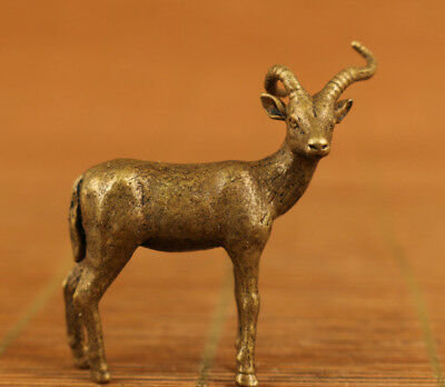 chinese old bronze hand carved deer mini statue figure collectable netsuke
