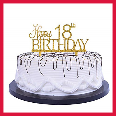 Happy 18Th Birthday Cake Topper GOLD Party Decoration Supplies Calligraphy Gold