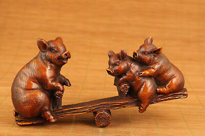 Big lovely unique japanese old boxwood hand carved Pig statue noble gift
