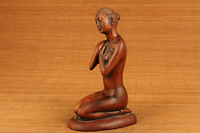 Rare japanese old boxwood Beautiful Belle figure statue home decoration