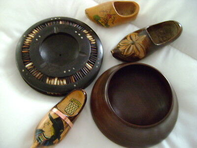 Vintage joblot Treen, Ebony and Porcupine quill  Ashtray, 3 Clogs, Bowl