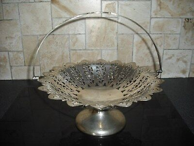 Lovely Vintage Pierced Silver Plated Footed Swing Handled  Dish