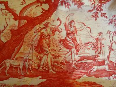 A Wonderful Early 20th Century French Linen Toile 'La Chasse'  Huge Panel