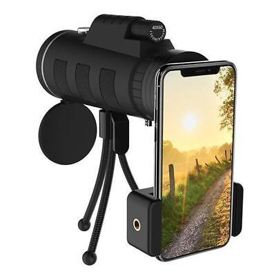 40X60 Zoom Monocular Telescope Scope for Smartphone Camera Camping With Tripod