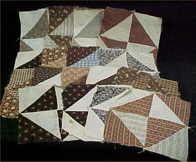 17 Vintage Antique Quilt Blocks Cotton Fabric Victorian 1800s and Pieced Browns