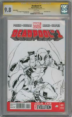 Deadpool #1 Blank Cgc 9.8 Signature Series Signed Adelso Corona Sketch Marvel