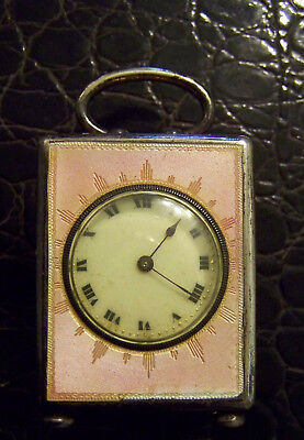 Swiss Silver And Guilloche Enamel Sub-Miniature Travel Carriage Clock Timepiece