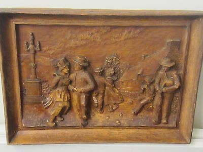 Hand Carved and painted wooden Frieze of Alpine Dancers in France