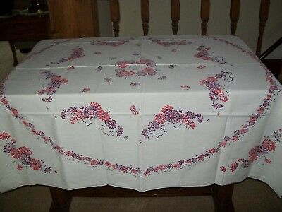 Vintage Tablecloth  Pink Purple Daisy Type Flowers