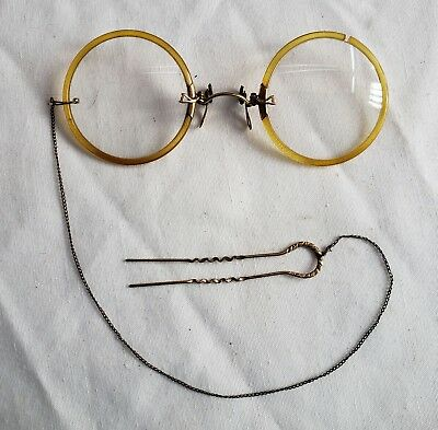 Antique Pince Nez style Pinch Nose Spectacles Glasses w Chain, Hair Pin & Case