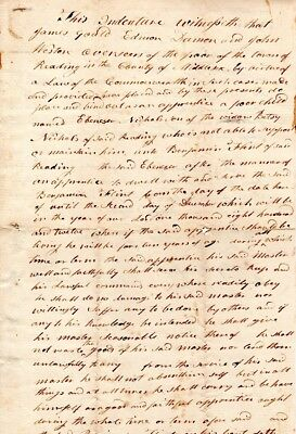 1805, Reading, Mass; Apprentice contract, 7 year old boy to master, signed
