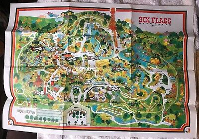 1970 Six Flags Over Texas Park Map Dallas Fort Worth 99 99 Picclick