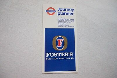 Nov 1991 London Underground Pocket Map Tube Map Fosters Beer VGC