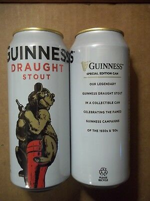 NEW 14.9 oz. Guinness Draught Collectible Beer Can with Bear - FREE SHIP in USA