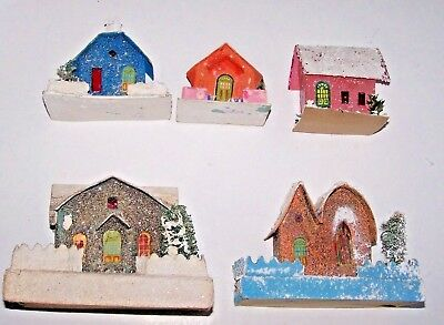 Lot Of 5 Vintage Christmas Putz Cardboard Village Houses Mica Coconut Japan
