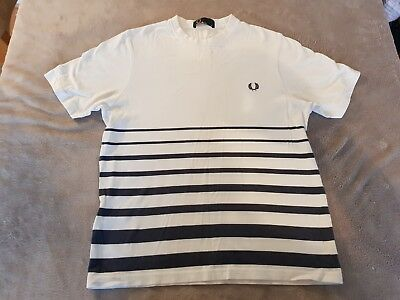 Boys White And Blue Striped  Fred Perry T-Shirt, Size M Youth