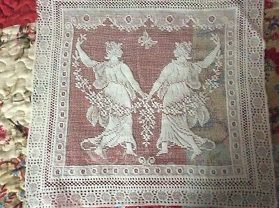 Vintage figural lace panel, mat, dancing maidens, garland flowers, butterfly