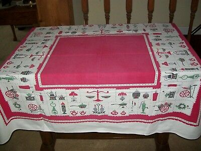 VINTAGE TABLECLOTH  with ANTIQUE ITEMS