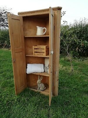 Victorian Antique/Old Pine Bathroom/Towel Storage Cupboard larder linen