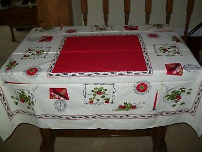 Vintage Tablecloth Mid Century Plants Fruit Wire Items