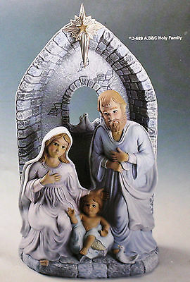 Ceramic Bisque Holy Family Light Scene Set Donas 0689 a & b Ready To Paint
