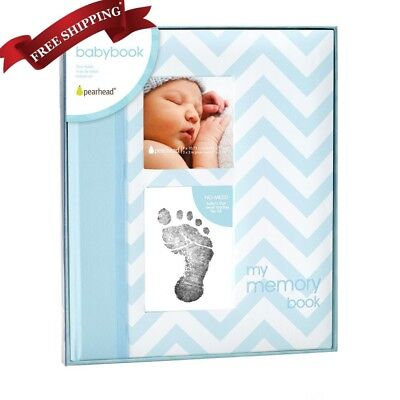 Baby Boy Memory Keepsake Book Footprint Touch Pad Photo Album Journal Record
