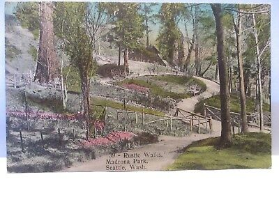 1909 Quaker Drug Co Hand Colored? Postcard Rustic Walks, Madrona Park, Seattle