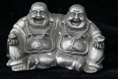 Decor Collectable Hand Miao Silver Carve Smile Double Buddha Buddhism Old Statue