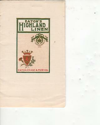 Eaton's Highland Linen Stationery Sample from Eaton, Crane & Pike Co
