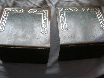 BOOKENDS, SILVER CREST, STERLING DECORATED BRONZE, # X2324 ca 1920
