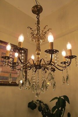 ANTIQUE Vintage French 8 Arms Crystal Chandelier Lamp Light Luster 1940's 23 in.