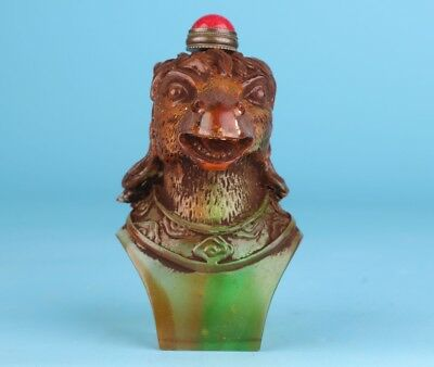 Precious China Coloured Glaze Snuff Bottle Hand-Carved Horse Head Mascot Gift