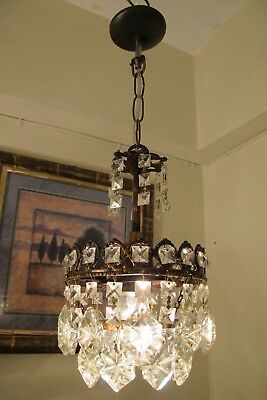 Antique Vintage small French Basket style Crystal Chandelier Lamp 1940's 6 in