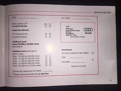 Audi Service Book Stamped,brand New And Genuine, Choose How Many Stamps You Need