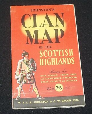 Vintage Johnston and Bacon Clan Map of the Scottish Highlands Tartans and Arms