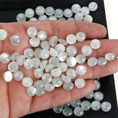 127 Pcs Natural Moonstone Finest White Gray Glossy Untreated Gems 9mm Round Cabs