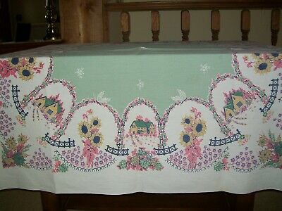 Vintage Startex Tablecloth Houses & Flower Gardens