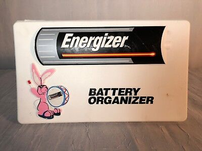 Vintage Energizer Battery Organizer Storage Box Container Tray Flip Lid