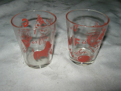 Pair of 50's Swanky Swig Promotional Tumbler Glasses Letter Stands for (in Red)