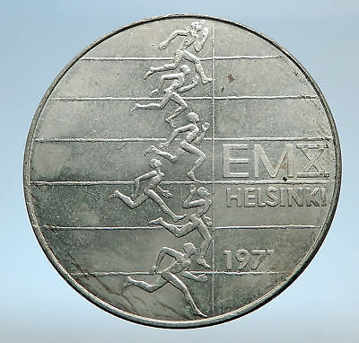 1971 FINLAND European Athletic Games TRACK Antique Silver 10 Markkaa Coin i74026