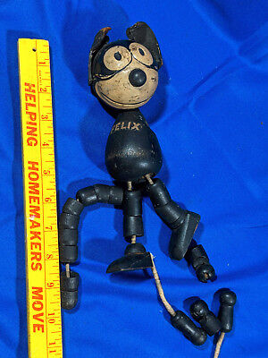 "1920's FELIX THE CAT 8"" JOINTED SCHOENHUT TOY/DOLL WOOD LEATHER EARS Pat"