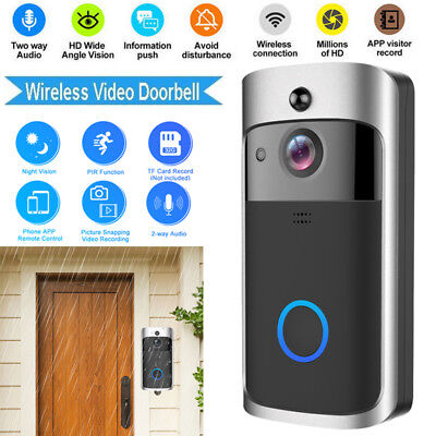 Smart WiFi Doorbell Wireless IR Visual Video Camera Record Home Security System